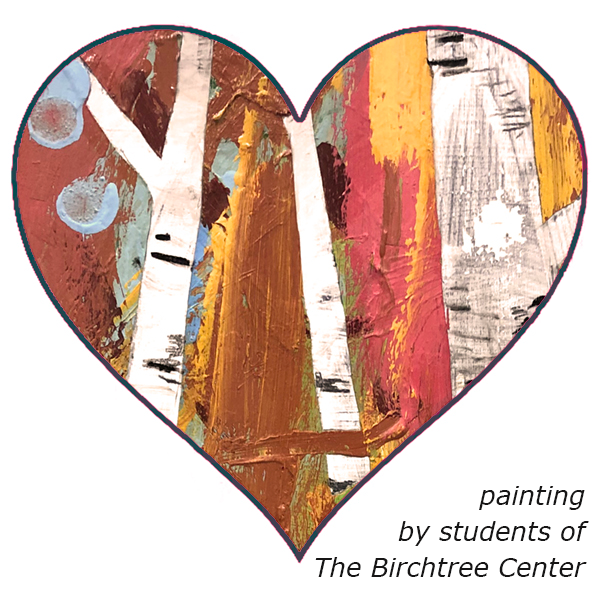 Painting or birch trees by students of The Birchtree Center